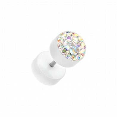 Multi-Sprinkle Dot Multi Gem White UV Fake Plug-WildKlass Jewelry