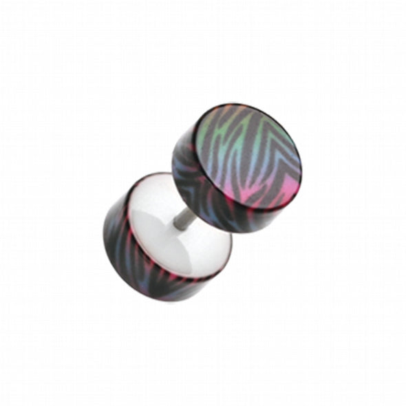 Gradient Zebra Acrylic Fake Plug-WildKlass Jewelry
