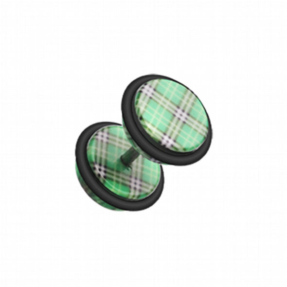 Plaid Checkers Acrylic Fake Plug with O-Rings-WildKlass Jewelry