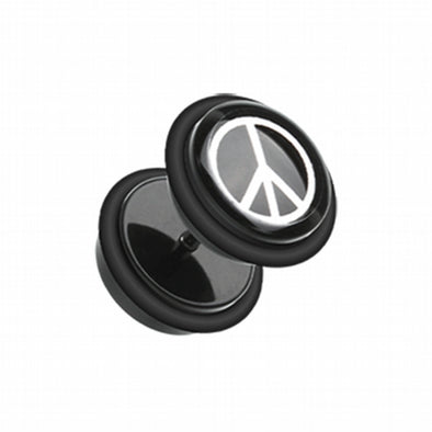 Peace Acrylic Fake Plug with O-Rings-WildKlass Jewelry