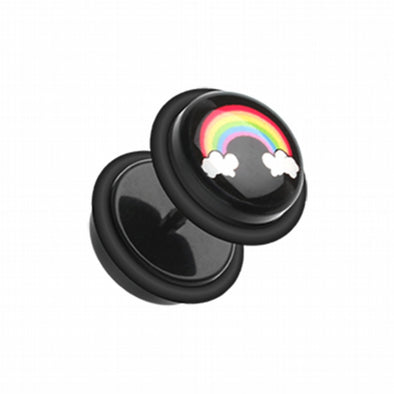 Rainbow on Cloud Acrylic Fake Plug with O-Rings-WildKlass Jewelry