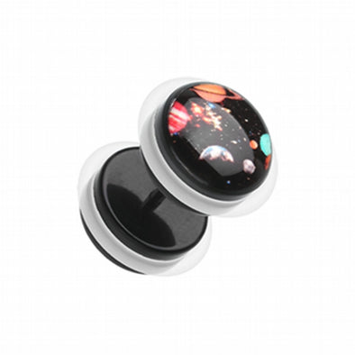 Galaxy Universe Acrylic Fake Plug with O-Rings-WildKlass Jewelry