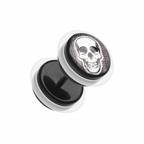 Death Skull Acrylic Fake Plug with O-Rings-WildKlass Jewelry