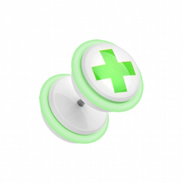 Green Medic Cross Acrylic Fake Plug with O-Rings-WildKlass Jewelry
