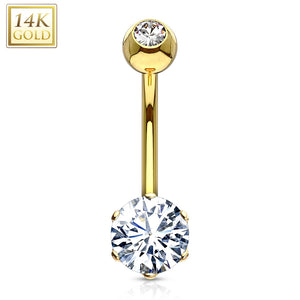 Round 6mm Prong Set CZ with 14 Karat Solid Yellow Gold Navel Ring-WildKlass Jewelry