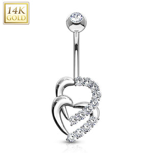 Double Heart Multi CZ WildKlass Navel Ring 14 Karat Solid Yellow Gold-WildKlass Jewelry