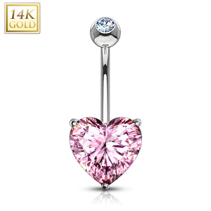 Heart CZ Prong Set 14 Karat Solid Yellow Gold WildKlass Navel Ring-WildKlass Jewelry