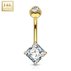 14 Karat Solid Gold Navel Ring with Square Princess Cut CZ-WildKlass Jewelry