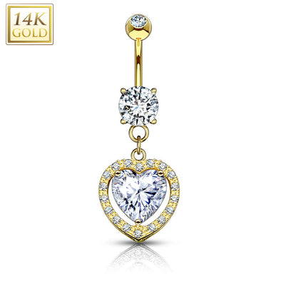 Heart Dangle with Heart Shaped Solitaire CZ 14KT Gold Dangle WildKlass Navel Ring-WildKlass Jewelry