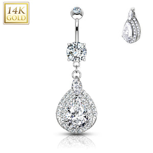 Three Tiered Tear Drop Dangle with Micro Paved CZ 14KT Gold Dangle WildKlass Navel Ring-WildKlass Jewelry