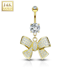 Ribbon Dangle with Micro Paved CZ 14KT Gold Dangle WildKlass Navel Ring-WildKlass Jewelry