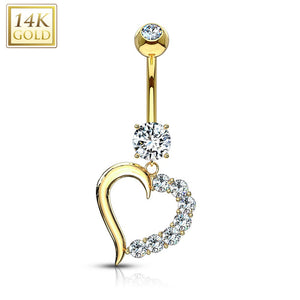14 Karat Solid Gold Clear CZ Journey Heart WildKlass Navel Ring-WildKlass Jewelry