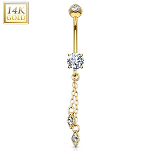 Hanging Jeweled Dangle 14 Karat Solid Yellow Gold CZ Prong WildKlass Navel Ring-WildKlass Jewelry
