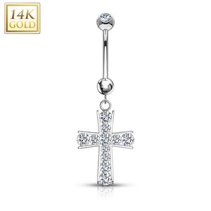 Cross Multi Gemmed Dangle with 14 Karat Solid Gold WildKlass Navel Ring-WildKlass Jewelry