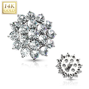 14 Kt. CZ Paved Round Flower WildKlass Dermal Anchor Top-WildKlass Jewelry