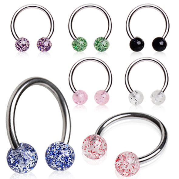 316L Surgical Steel Horseshoe with UV Coated Glitter Balls-WildKlass Jewelry