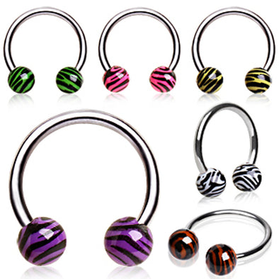 316L Surgical Steel Horseshoe with UV Coated Zebra Balls-WildKlass Jewelry