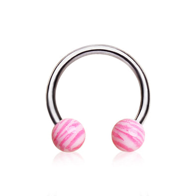316L Surgical Steel Horseshoe with Pink UV Coated Zebra Balls-WildKlass Jewelry