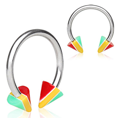 316L Surgical Steel Horseshoe with UV Coated Acrylic Jamaican Striped Spikes-WildKlass Jewelry