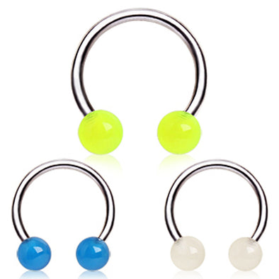 316L Surgical Steel Horseshoe with Glow in the Dark Balls-WildKlass Jewelry
