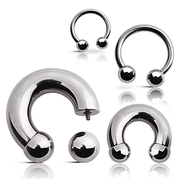 316L Surgical Steel Horse Shoes with Ball-WildKlass Jewelry