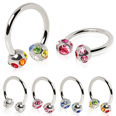 316L Surgical Steel Horseshoe with Multi Color Gem balls-WildKlass Jewelry
