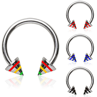 316L Surgical Steel Horseshoe with Two Three-Striped Spikes-WildKlass Jewelry