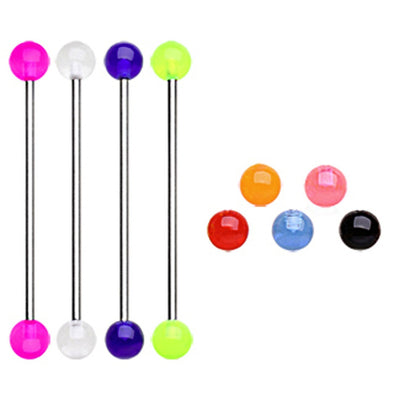 316L Industrial Barbell with UV Acrylic Balls-WildKlass Jewelry