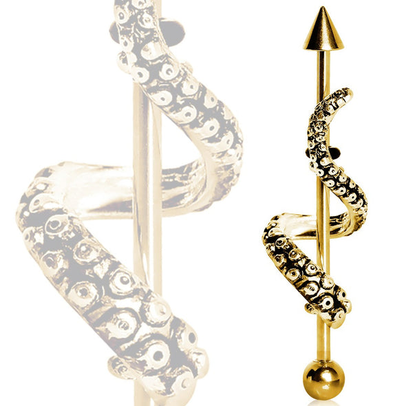 Gold Plated Tentacle Wrap Industrial Barbell-WildKlass Jewelry