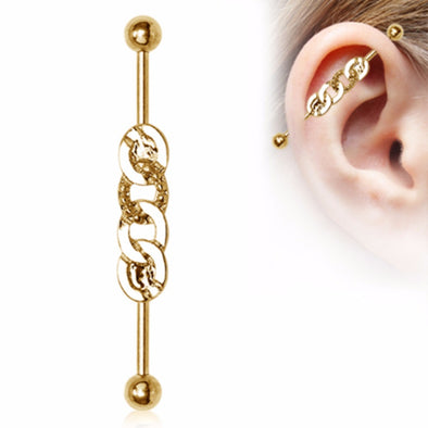 Gold Plated Rope Chain Industrial Barbell-WildKlass Jewelry