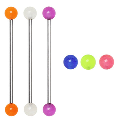 316L Industrial Barbell with Glow in the Dark Balls-WildKlass Jewelry