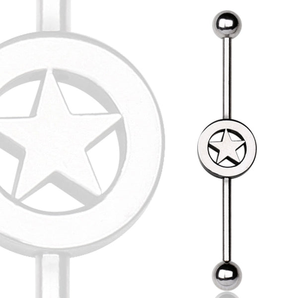 316L Surgical Steel Industrial Barbell with Star Logo-WildKlass Jewelry