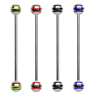 316L Surgical Steel Industrial Barbell with Three Striped Balls-WildKlass Jewelry