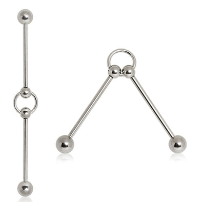 Two 316L Surgical Steel Industrial Barbells Connected with Ring-WildKlass Jewelry