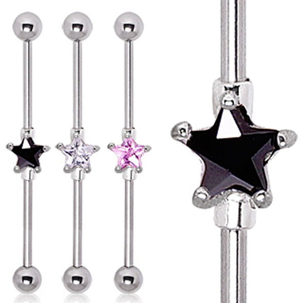 316L Surgical Steel Prong Set Star CZ Industrial Barbell-WildKlass Jewelry