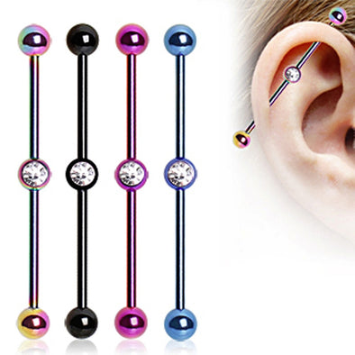 PVD Plated Industrial Barbell with Gem Ball in the Center-WildKlass Jewelry