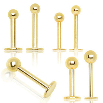 Gold Plated 316L Surgical Steel Labret/Monroe with Ball-WildKlass Jewelry