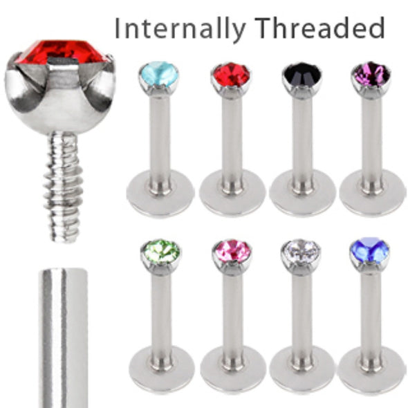 316L Surgical Steel Internally Threaded Labret with Prong Set Gem Top-WildKlass Jewelry