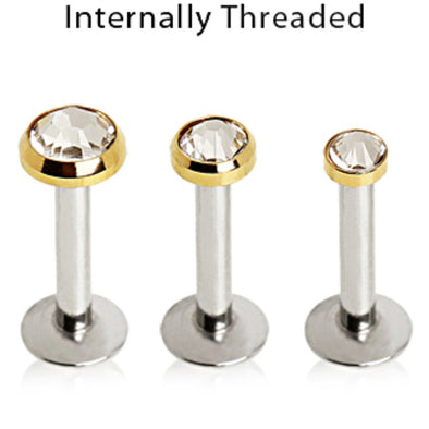 316L Surgical Steel Internally Threaded Labret with Gold Plated Flat Gem Top-WildKlass Jewelry