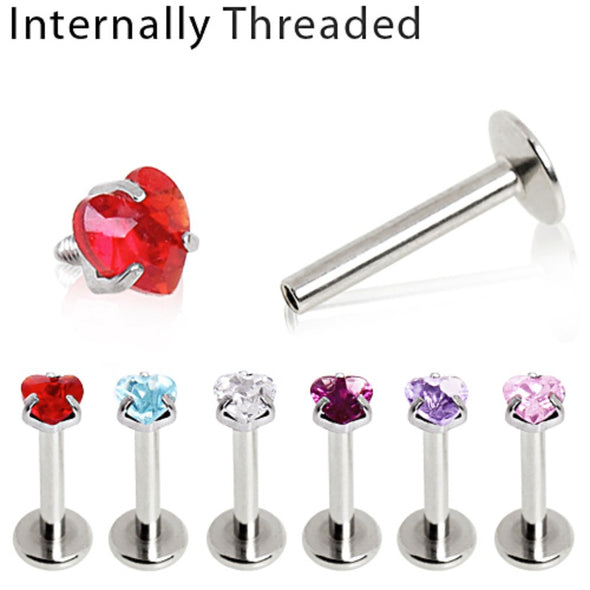 316L Surgical Steel Internally Threaded Labret with Prong Set Heart Gem Top-WildKlass Jewelry