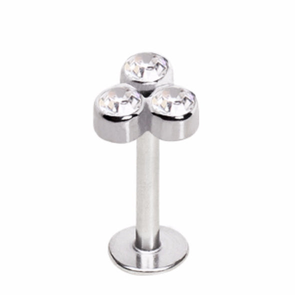 316L Stainless Steel Triple Gemmed Labret-WildKlass Jewelry