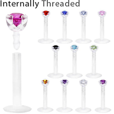 Internally Threaded Bio Flex Labret with Push-In Prong Set Gem-WildKlass Jewelry