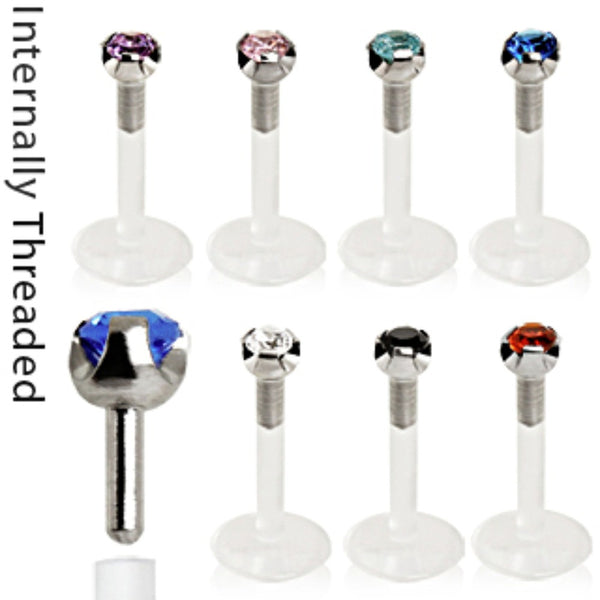 Internally Threaded Bio Flex PTFE Labret with 316L Surgical Steel Prong Set CZ Top-WildKlass Jewelry