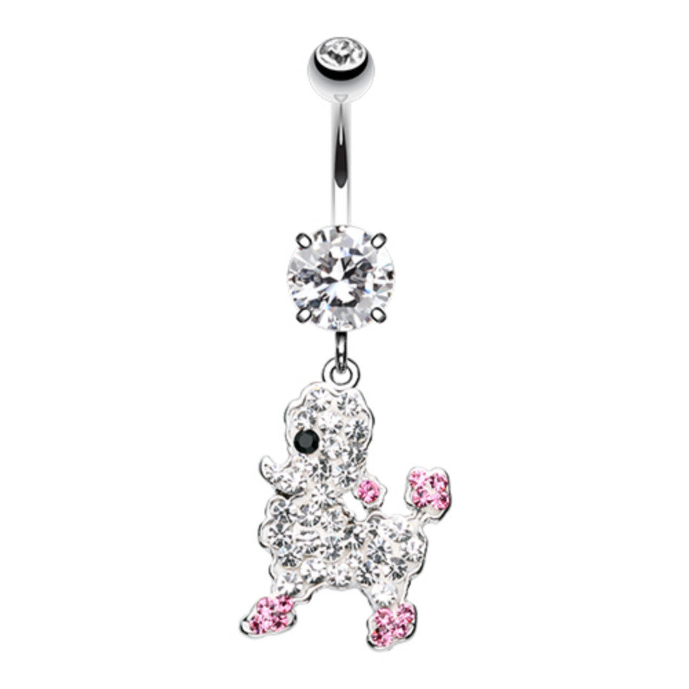 Adorable Poodle Multi Sprinkle Dot Dangle Belly Button Ring