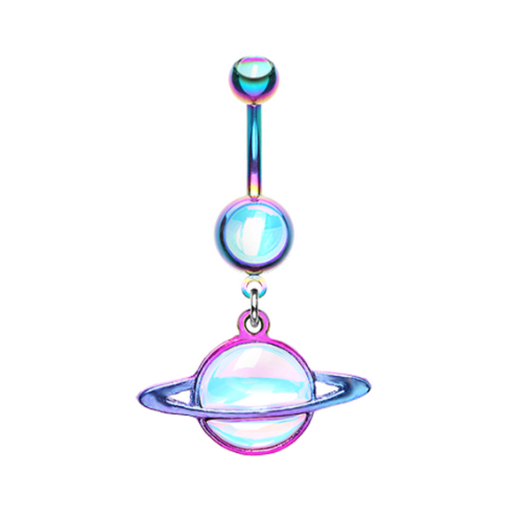 Colorline Saturn Planet Revo WildKlass Belly Button Ring-WildKlass Jewelry