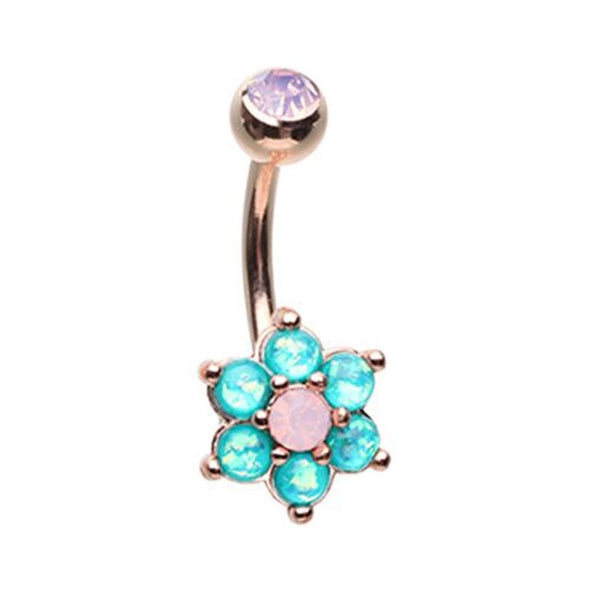 Rose Gold Admirable Glitter Opal Flower WildKlass Belly Button Ring-WildKlass Jewelry
