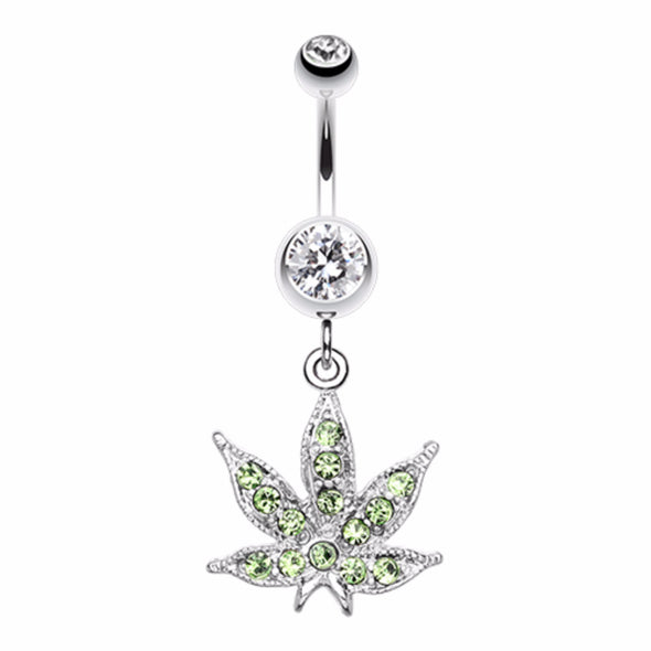 Marijuana Leaf Sparkle Belly Button Ring-WildKlass Jewelry