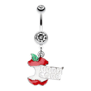 Hardcore Apple Engraved Belly Button Ring-WildKlass Jewelry