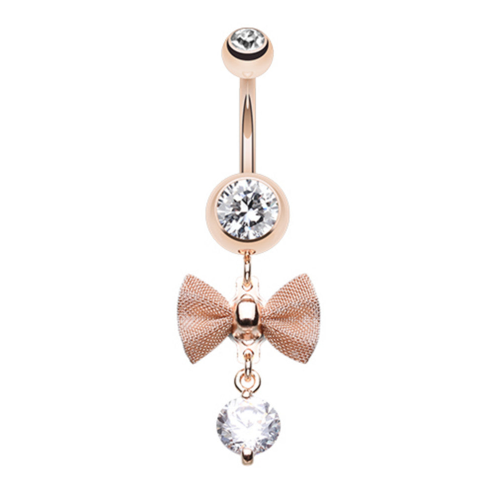 Elegant Mesh Bow Tie Gem Dangle Belly Button Ring