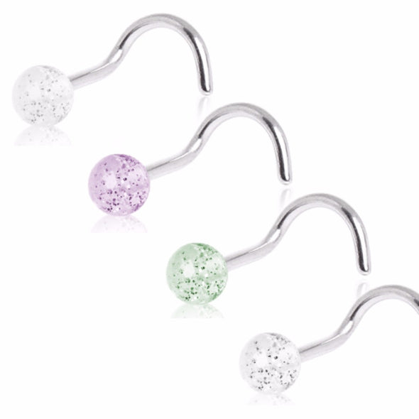 316L Surgical Steel Screw Nose Ring with Acrylic Glitter Ball-WildKlass Jewelry